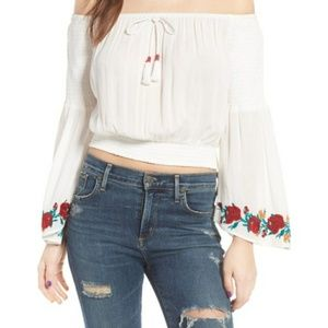 Band of Gypsies off shoulder embroidered rose top